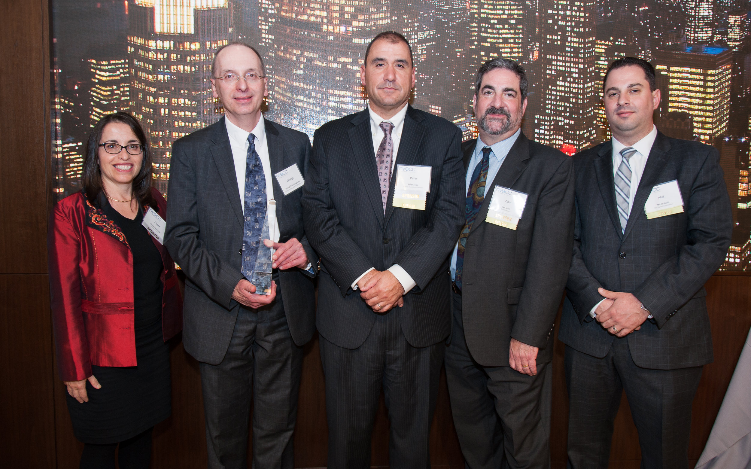 NYECC Executive Director Diana Sweeney, Legal Counsel George Diamantopoulos, Co-President Peter Febo, Executive Vice President Dan Levin, and Co-President Phil Skalaski at the 2016 Energy New York Awards (ENYA) Celebration.