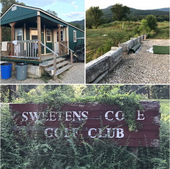 The Sweetens Cove clubhouse, driving range, and all too easily missed entrance sign. (Yes, we missed the sign.)