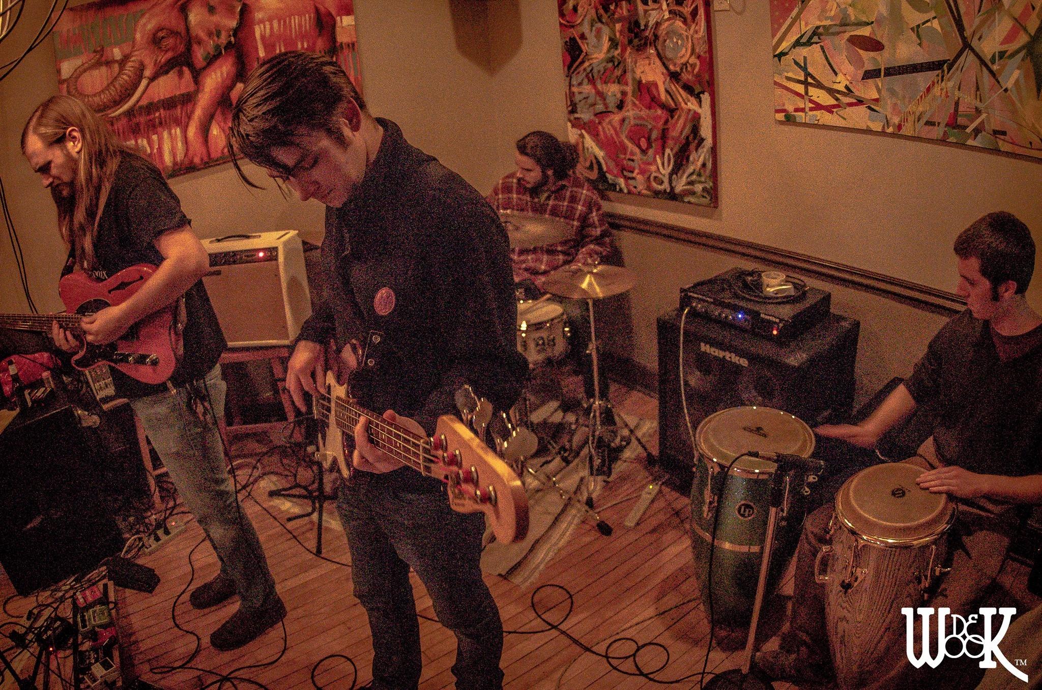 VB's Jeebies at Dino's Riverwest in Milwaukee, February 2017. Patrick Van Bibber (guitar/vocals), Brendan Demet (bass), Jack Reed (drums), Joe Creer (congas).