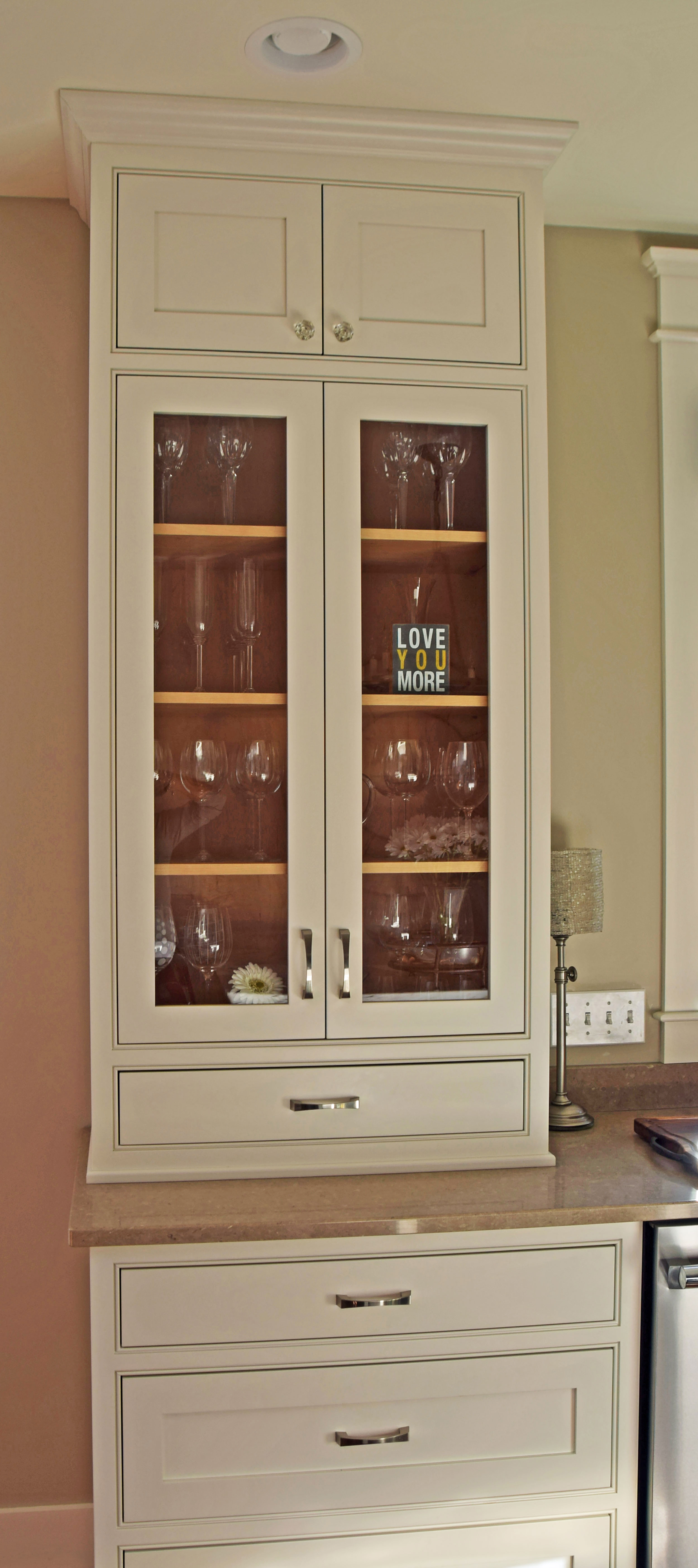 Bright White Kitchen - Glass China Cabinet