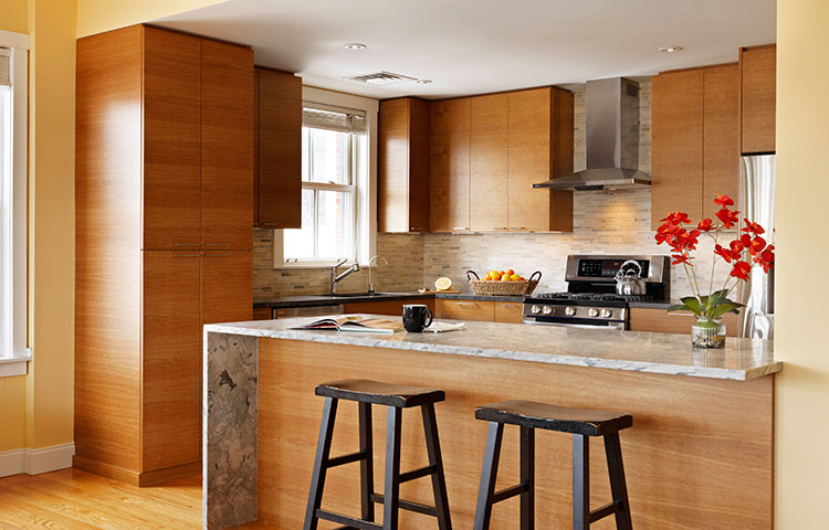 Modern Kitchen Match Grain - Tasked with creating a stunning kitchen for a small urban condo, this project hit the mark. Using horizontal match-grain slab fronts make this a stunning focal point of the small home. More Pictures