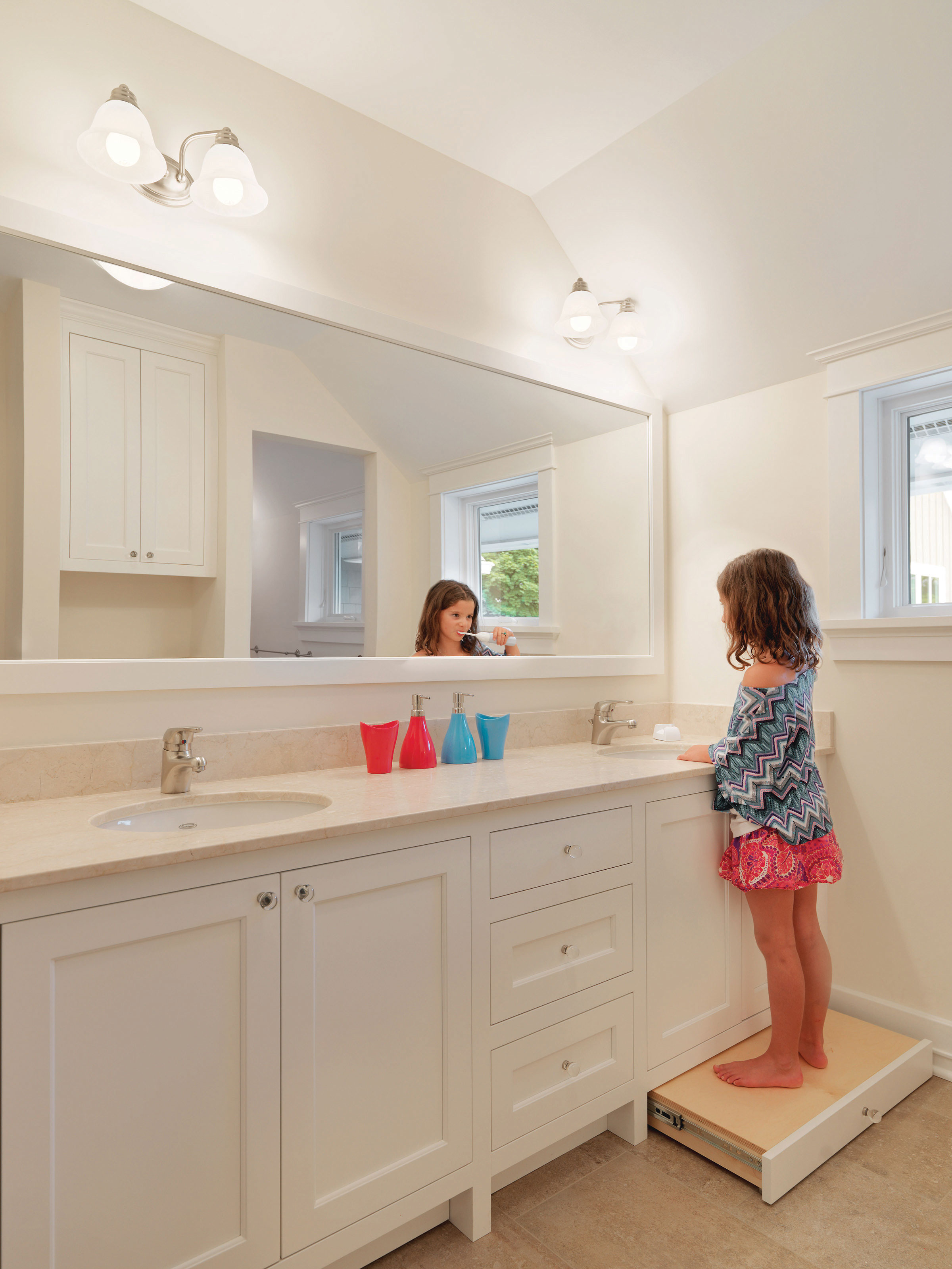 Clever Toe Kick Gives Kids A Boost For Brushing Teeth Simpson Cabinetry