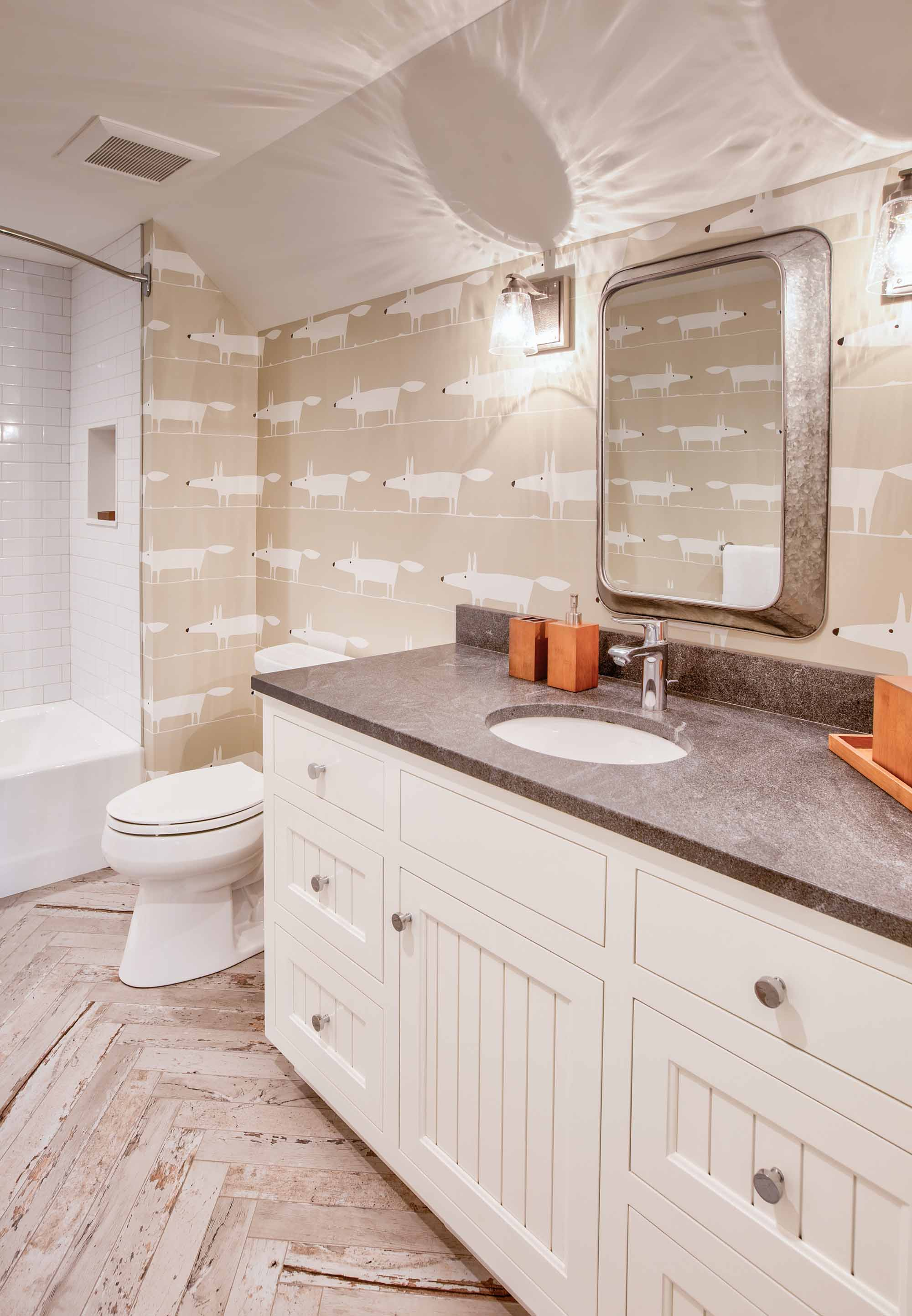 White bath with tan accents