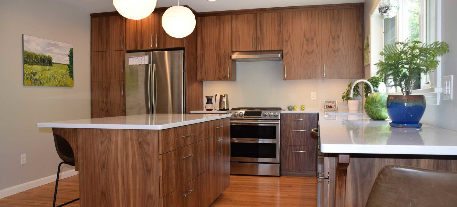 Contemporary Walnut Kitchen — Simpson Cabinetry