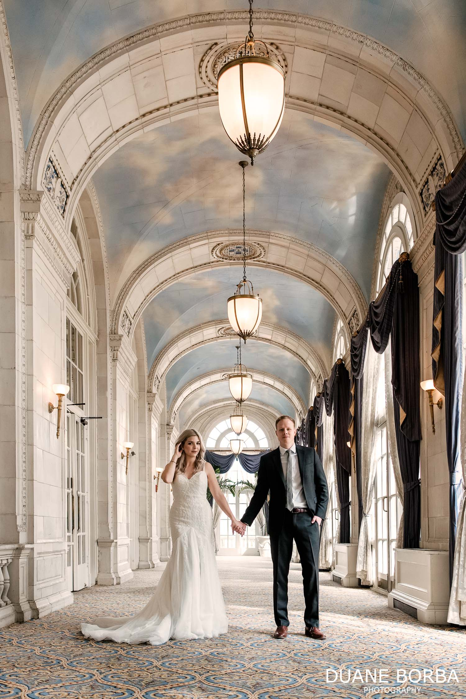 Bride and Groom portrait in Hermitage Hotel in Downtown Nashville, Tennesee