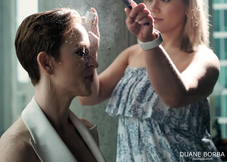 Bride and the hairspray shot