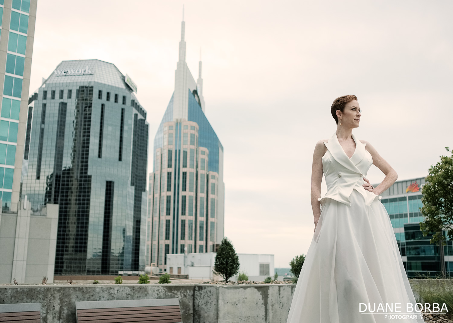 Bride posing on the 505 rooftop in Downtown Nashville, Tennessee