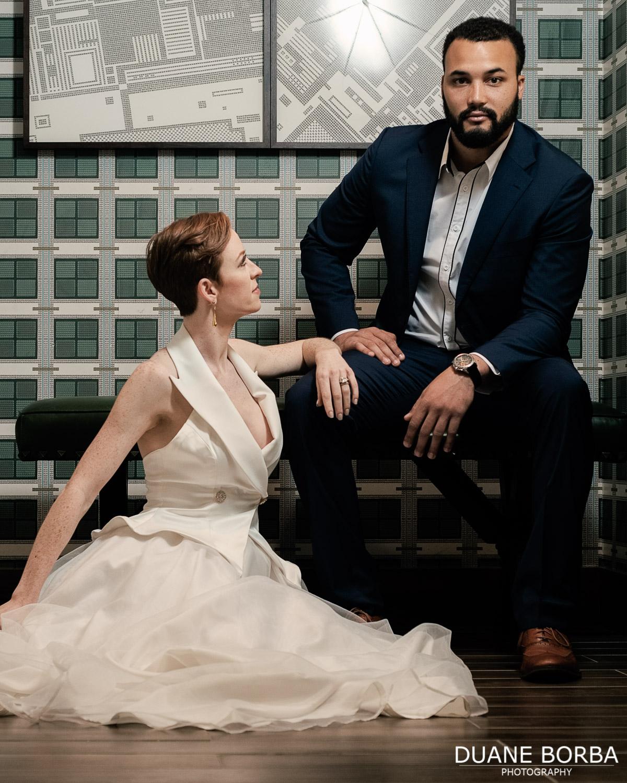 Bride and Groom posing in 505 Nashville's bathroom