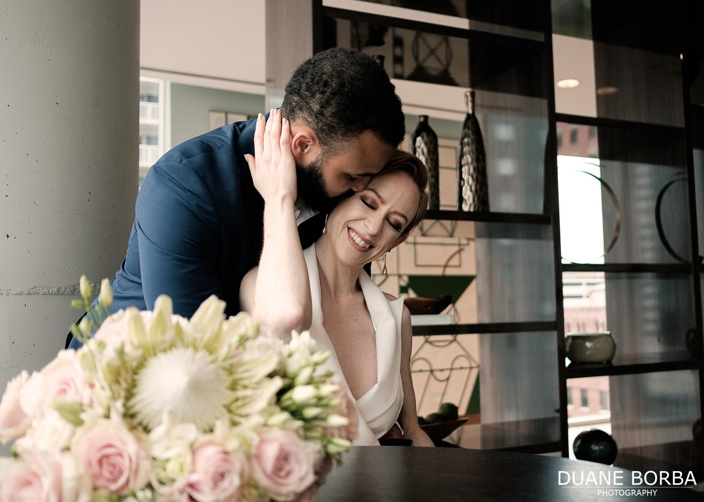 Bride and Groom embrace in 505 Nashville
