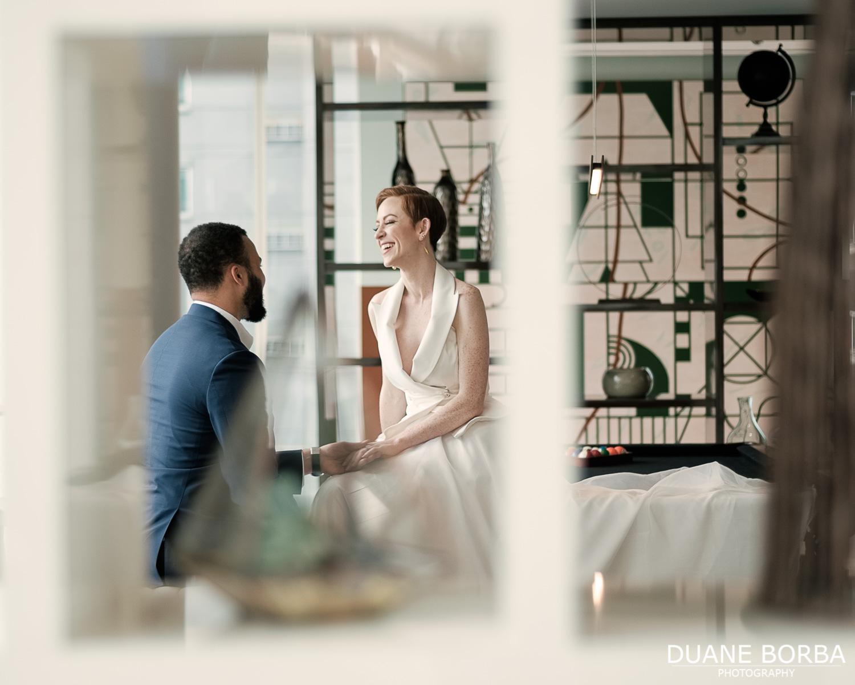 Bride and Groom holding hands in 505 Nashville in Downtown Nashville