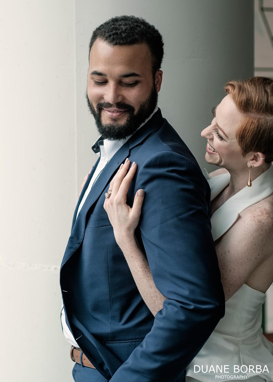 Bride embracing Groom