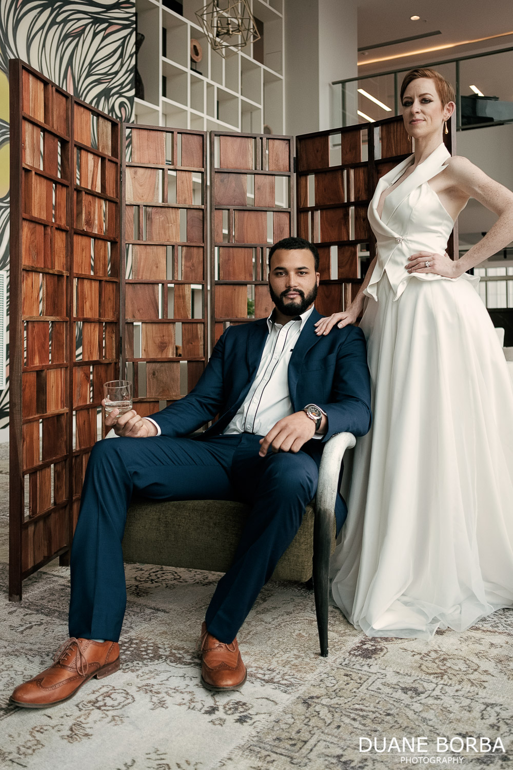 Bride and Groom pose in 505 Nashville located in Downtown Nashville, Tennessee
