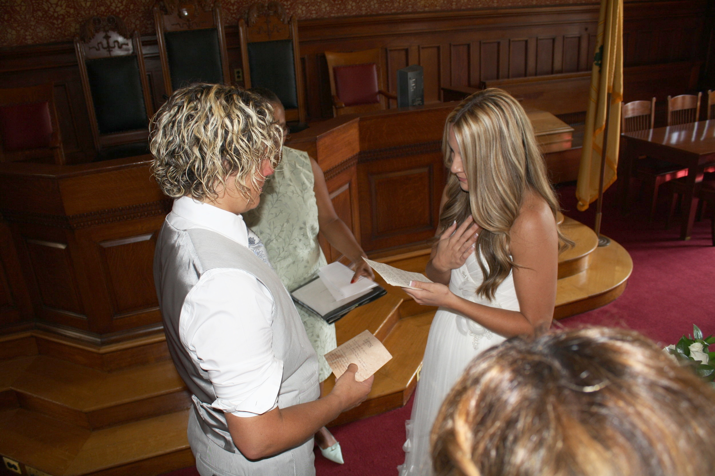 Sharing our wedding vows.