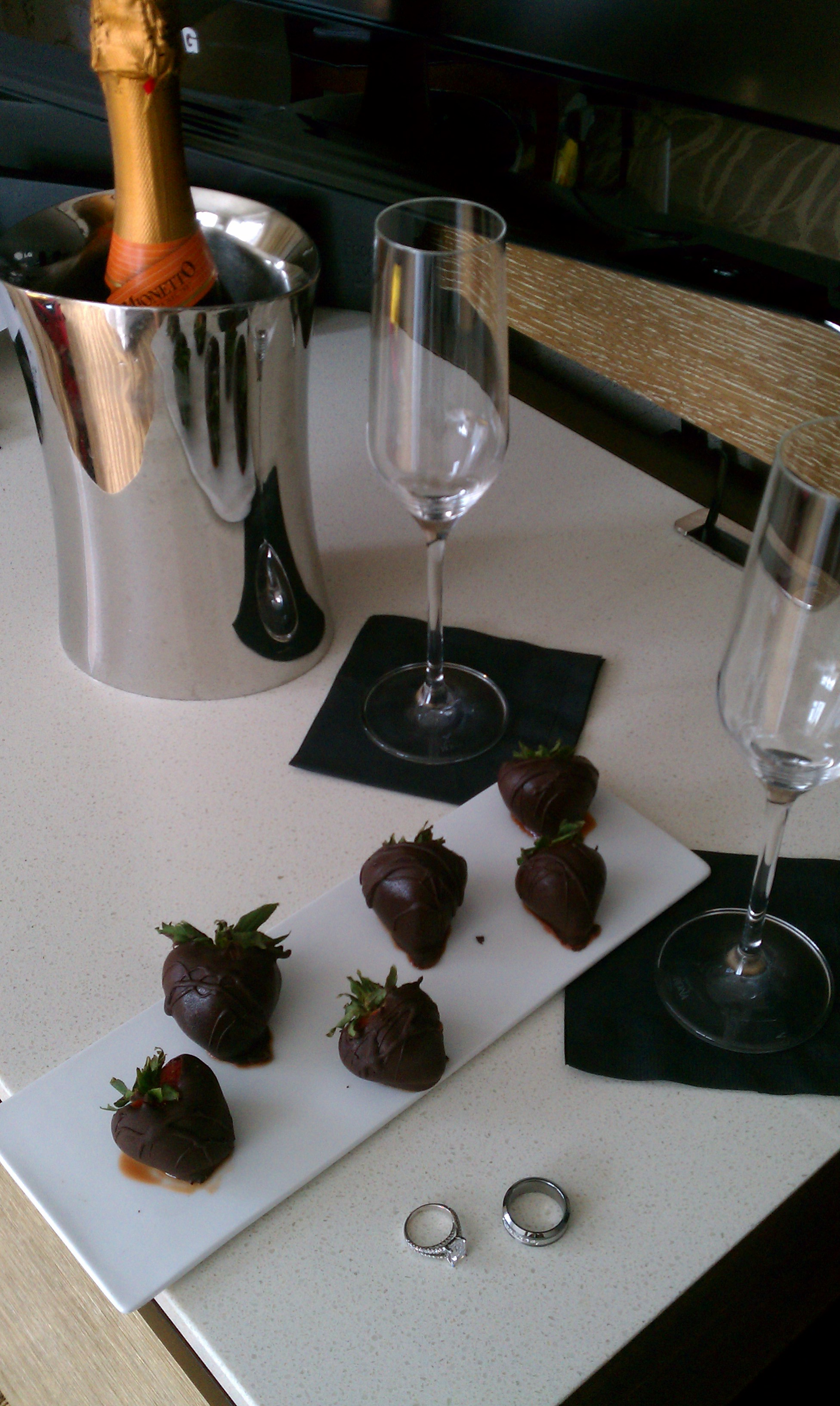 InterContinental New York caught wind from their Boston location, that we had just gotten married, and they had chocolate-covered strawberries and champagne in our room for us when we arrived! So thoughtful! (We don't really drink, but it's the thought that counts!)