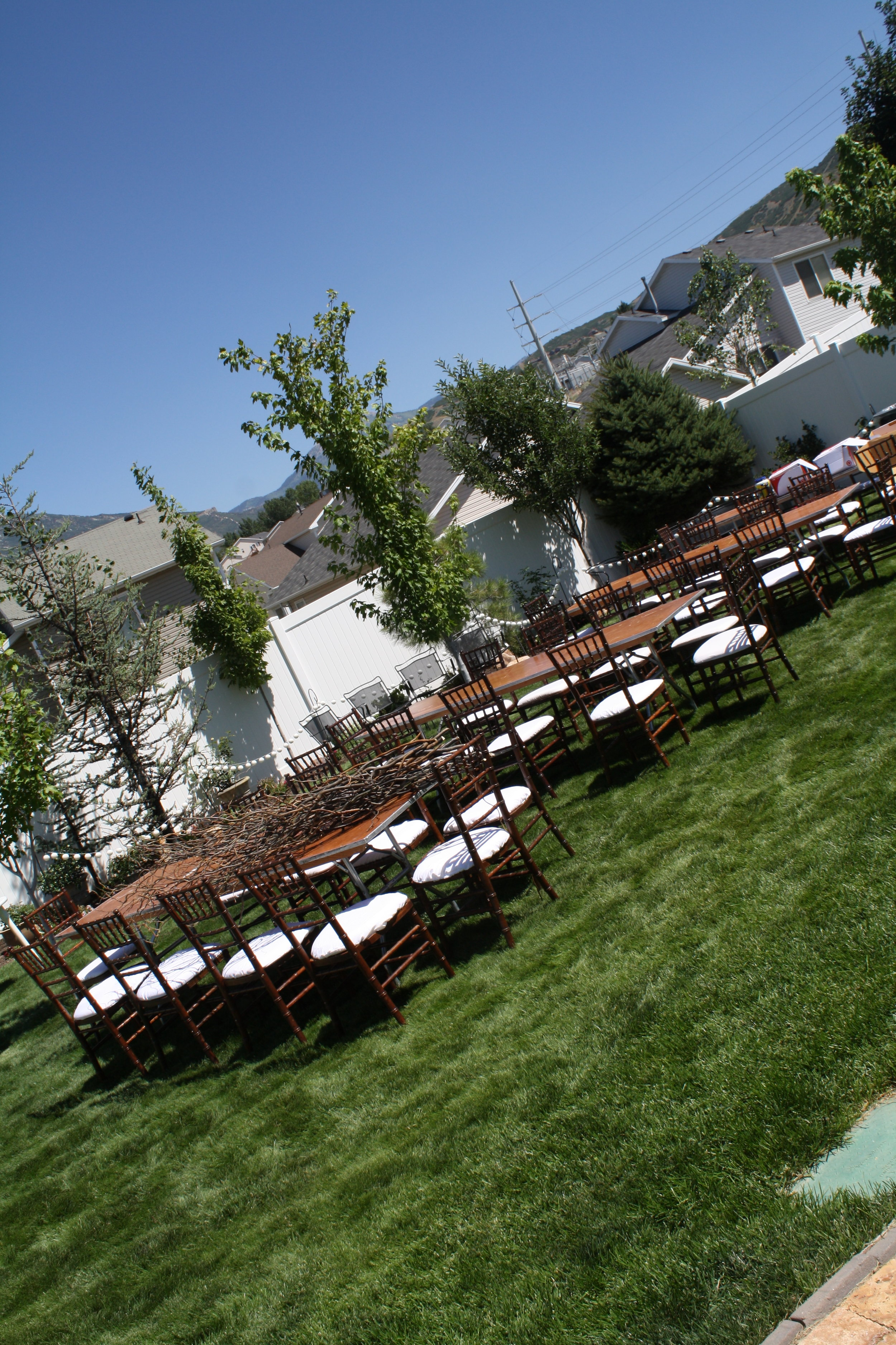 Starting to set up chairs and tables.