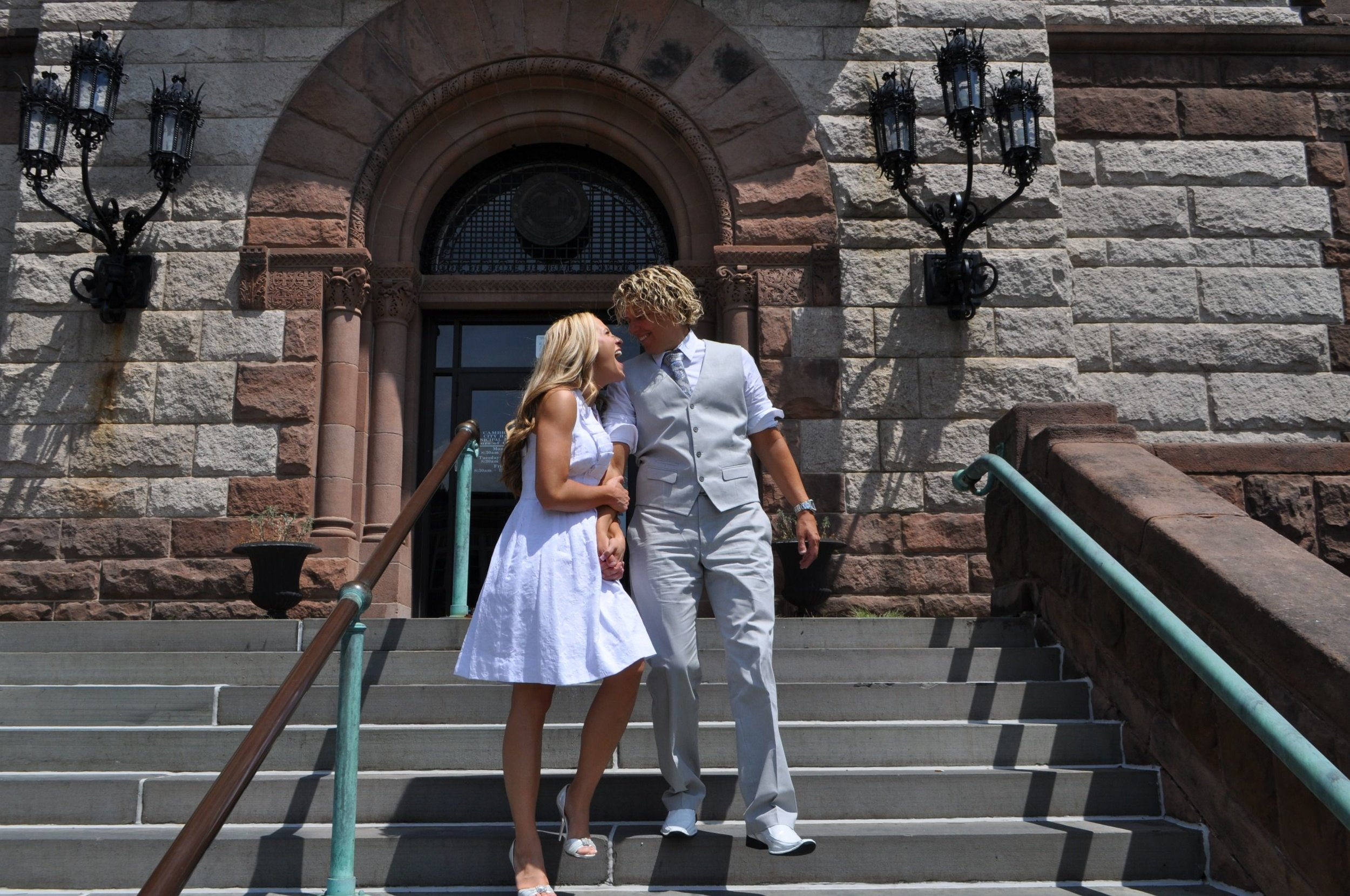 Walking out of Cambridge City Hall, married and all!!