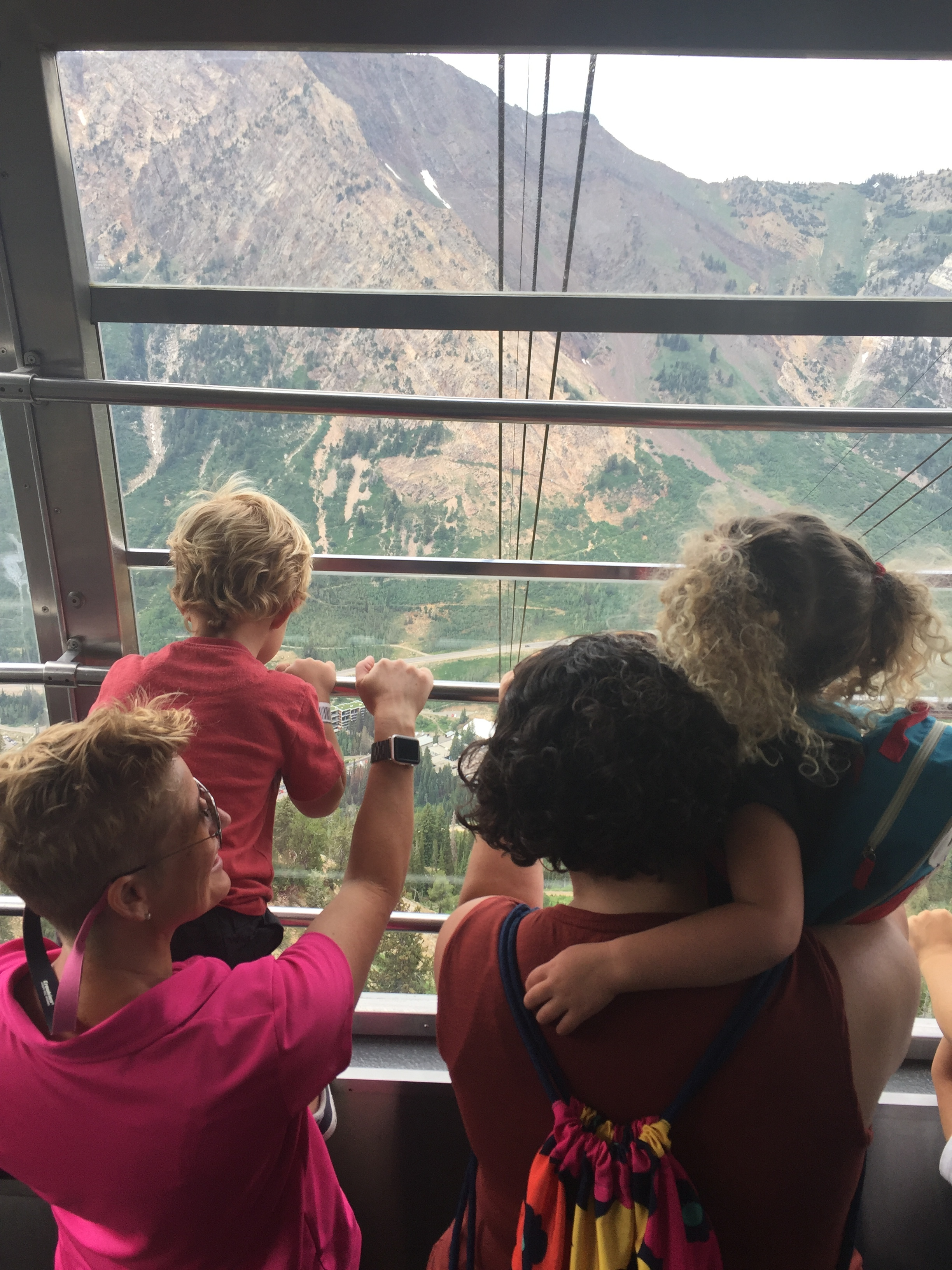 Riding the gondola - a first for all of us!