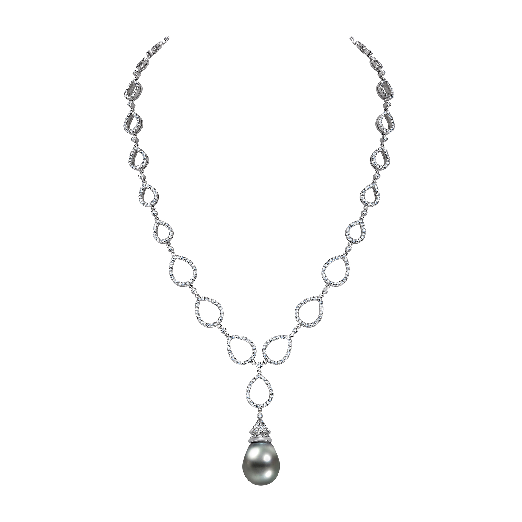 TAHITIAN PEARL DROP ON A BRILLIANT CUT DIAMOND NECKLACE - £25,500  Exquisite grain set brilliant cut diamond fancy link tear shaped necklet featuring a Tahitian pearl capped with twenty-two baguette cut diamonds and set in white gold. The Tahitian or black pearl is an organic gem deriving its name from the fact that they are primarily cultivated around the islands of French Polynesia near to Tahiti.  CONTACT - pragnell.co.uk | enquiries@pragnell.co.uk