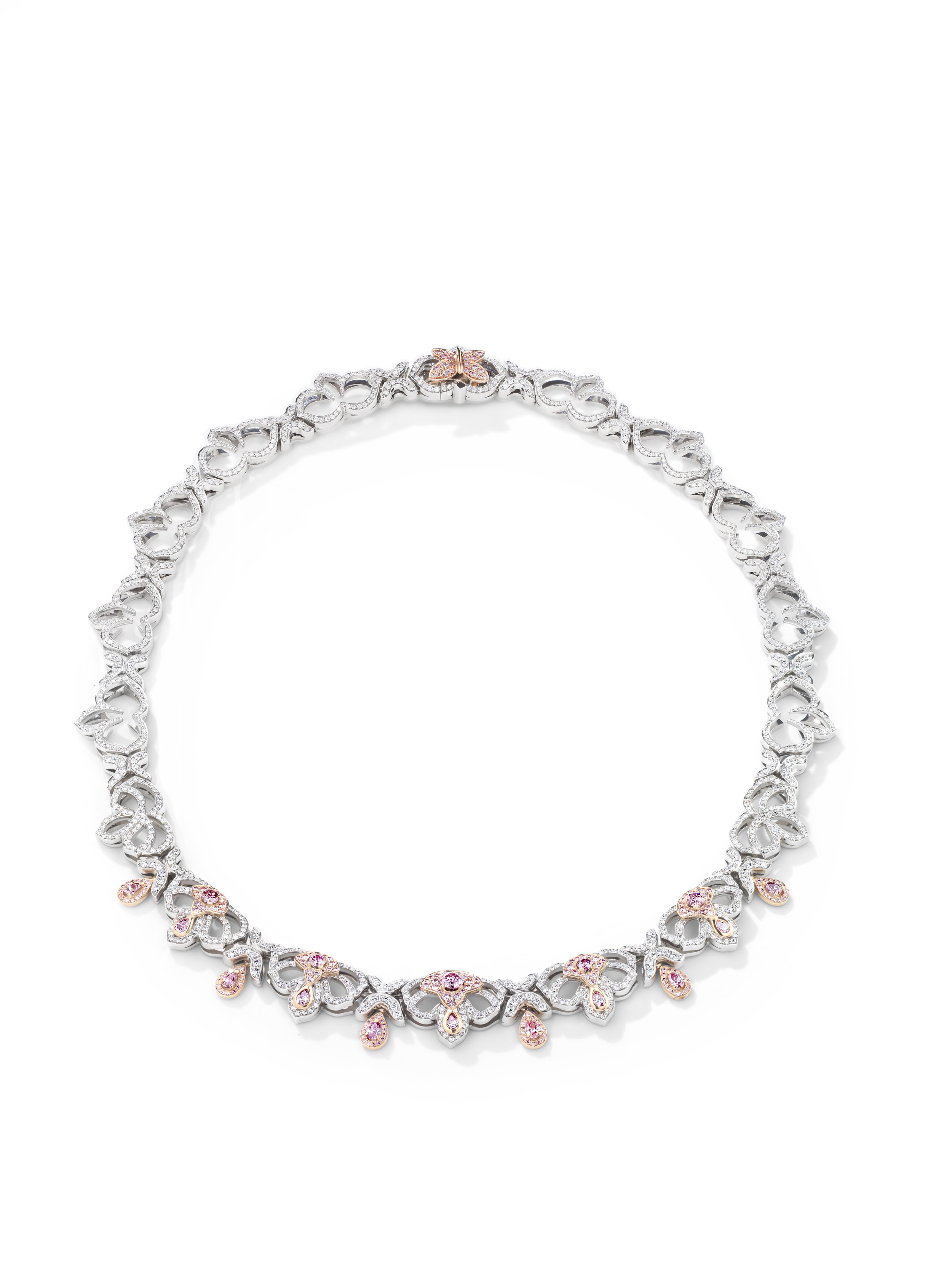EDEN COLLECTION - PRICE UPON APPLICATION  Flowers are nature's jewellery — they've been a source of inspiration for as long as jewellery itself. Add the colourful flight of a butterfly and you've captured the essence of a perfect summer's day. Top it off with a strawberry pop of pink diamonds.  IMAGE: Boodles 'Eden' necklace featuring pink and white diamonds set in platinum.  CONTACT | boodles.com