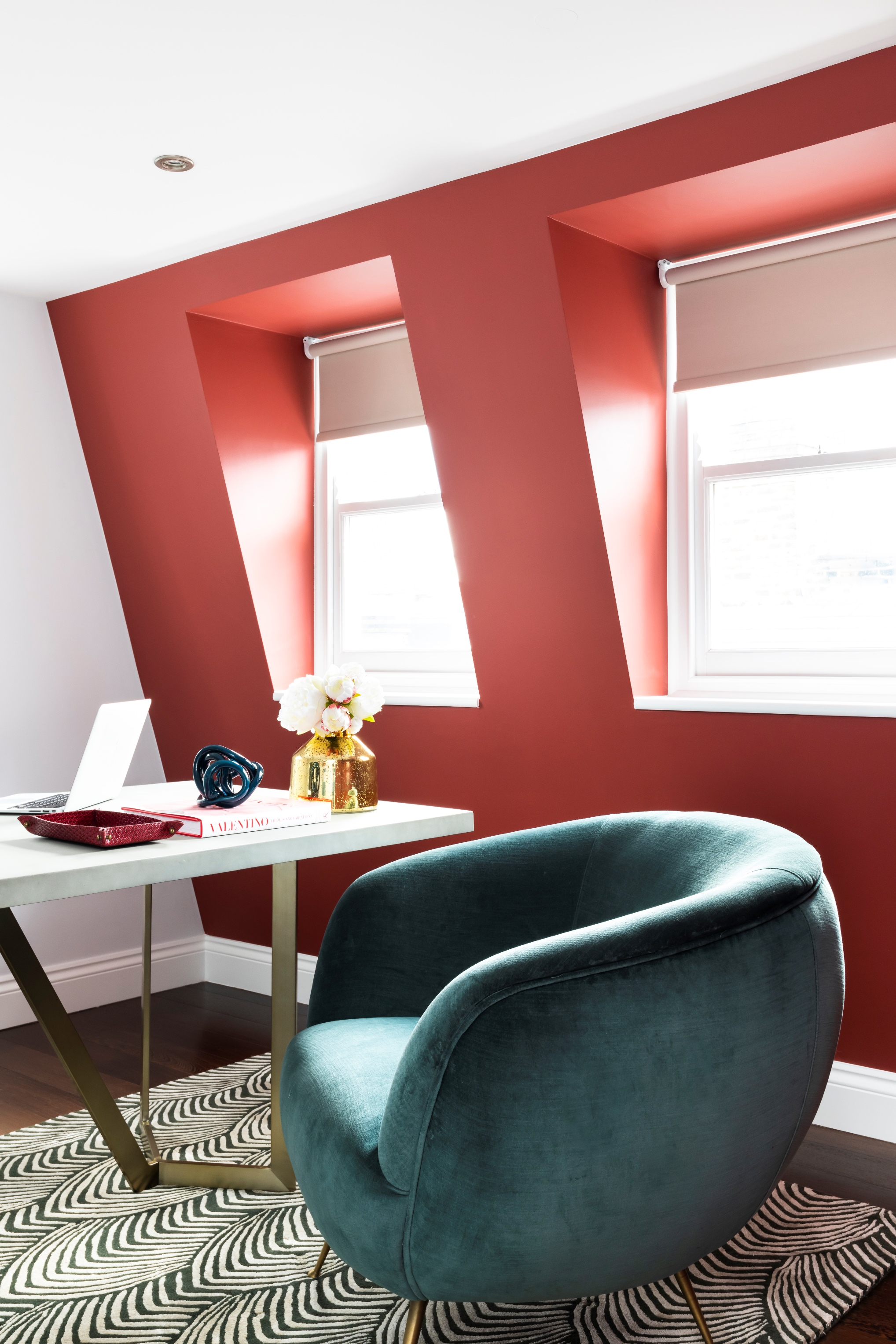 Fulham Lion House 2   : In the office, a striking red contrasts with an aqua velvet club chair and concrete desk. A Wendy Morrison rug grounds the scheme for our private client.