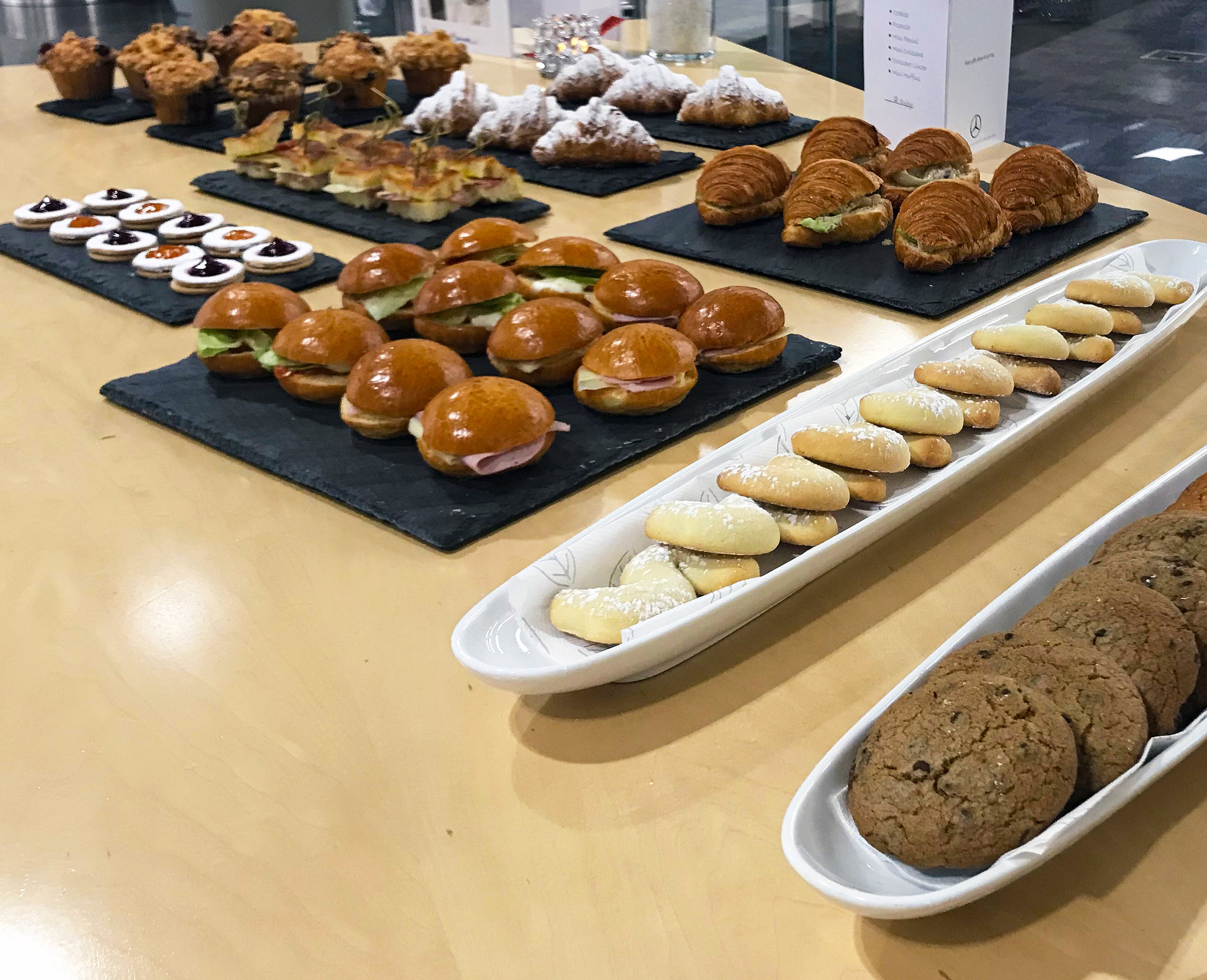 A DELICIOUS BREAKFAST PREPARED BY PIE CORPS, with COOKIES, CROISSANTS, SANDWICHES, MUFFINS