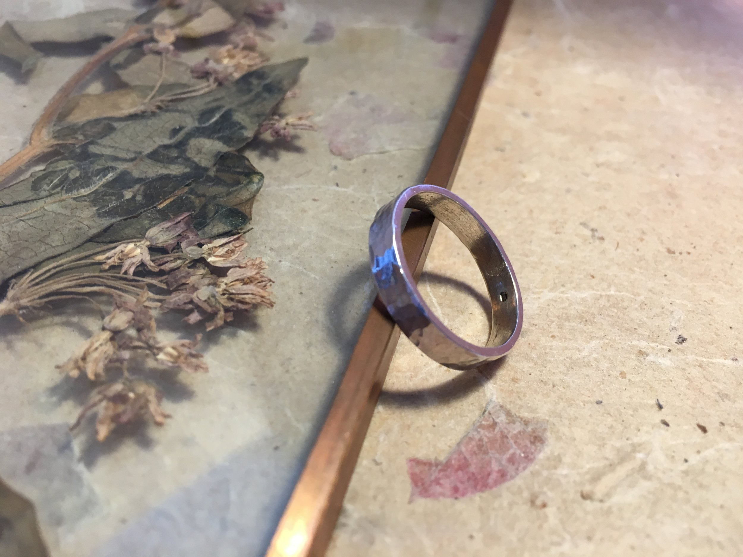 Flat Ring with Hammered Texture  Available in varying widths and thicknesses in white gold, yellow gold, rose gold, sterling silver, ethical recycled silver, and ethical recycled gold.  £50 - £450 *