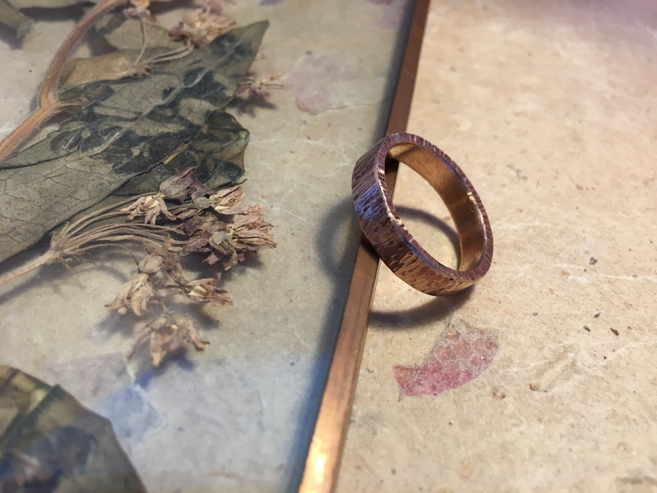 Tree Bark Textured Flat Ring  Available in varying widths and thicknesses in white gold, yellow gold, rose gold, sterling silver, ethical recycled silver, and ethical recycled gold.  £50 - £450 *