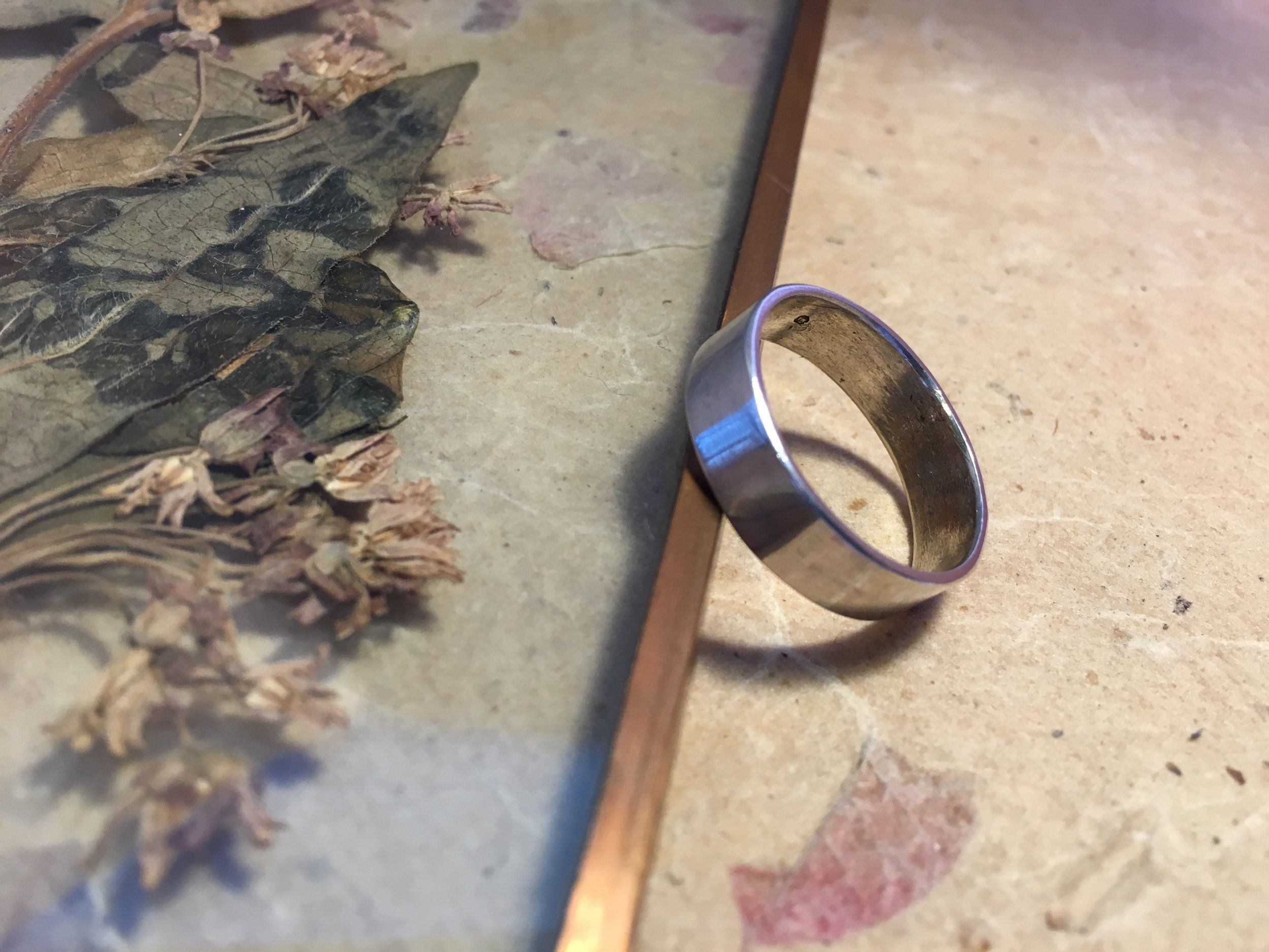 Flat Ring with a Plain Polished or Brushed Texture  Available in varying widths and thicknesses in white gold, yellow gold, rose gold, sterling silver, ethical recycled silver, and ethical recycled gold.  £50 - £350 *