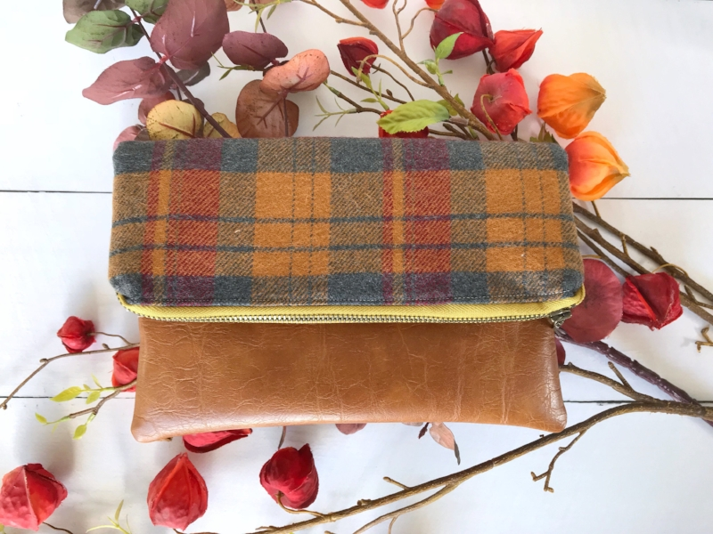 Plaid Fold Over Clutch by Barnacle Designs
