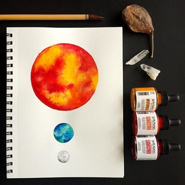"Ready for a full lunar eclipse of the full blood wolf moon? Super. I'm pretty pumped!! 🌚🌝 Here's to hoping I don't forget to go outside 😂  Throwback to when I painted a lunar eclipse and didn't realize it until now. I recently printed this by request and was astounded at the brilliant color and saturation. I'm considering getting back  into moons and celestial arrangements again  and getting more printed. There's an 8""x11"" of this up for grabs. DM for deets. Enjoy the full moon you wildebeests. . . . . . #watercolor #painting #paint #art #artistsonInstagram #celestial #space #sun #planet #moon #earth #fire #drphmartins #hydrus #squinksart_moons #lunareclipse #lunareclipse2019 #luna #terra #sol #solarsystem #shineon #celestial #nightsky #moonart #moonmaiden #paintthesky #womenwhopaint #madetocreate #stargazer #sun #lunar"
