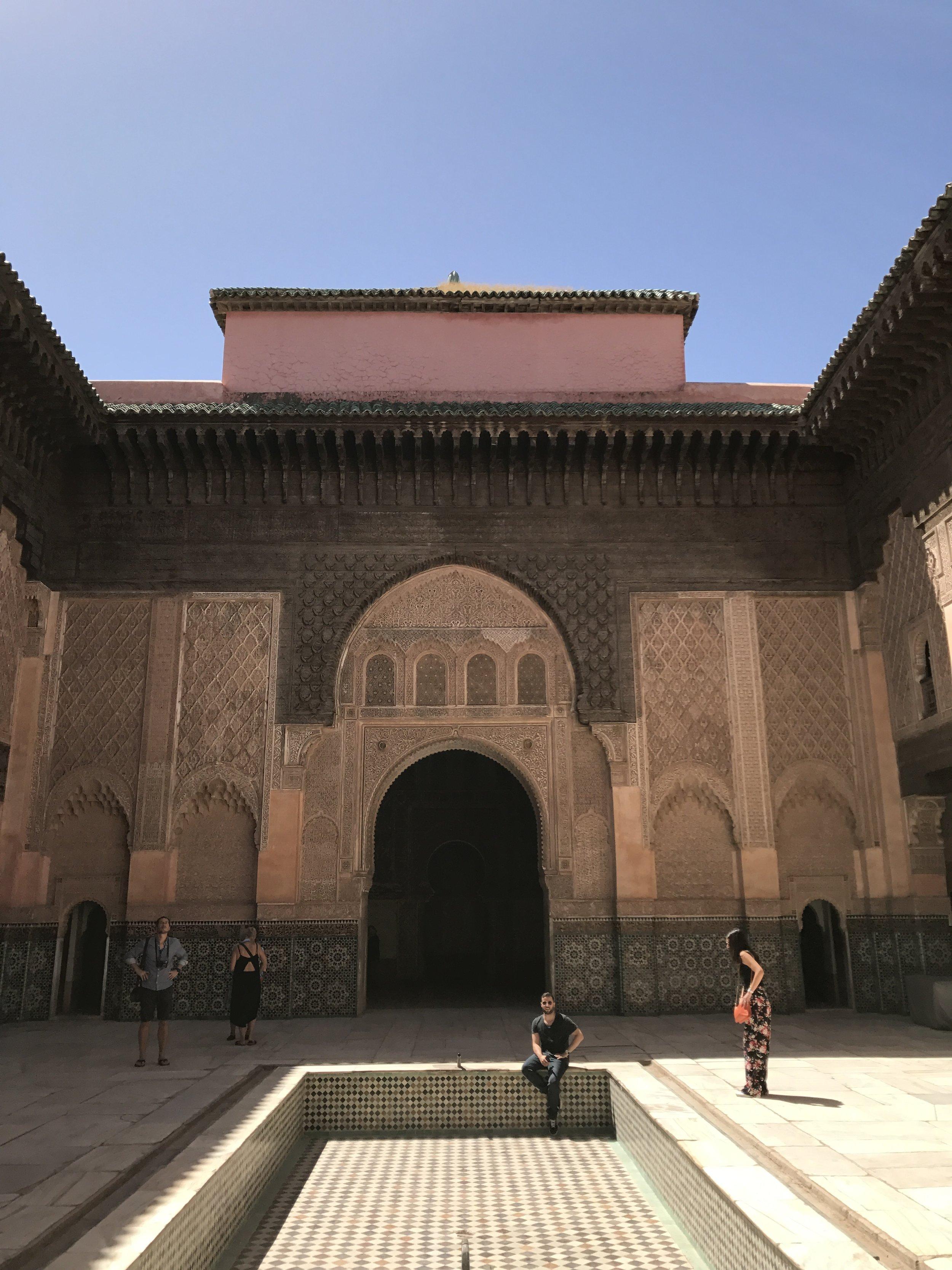 Interior courtyard of the Ben Youssef Mosque built in 1070.