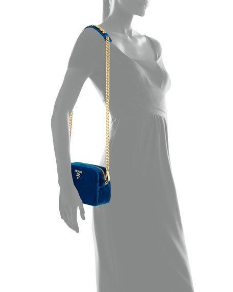 Prada Velvet cross body bag that comes in 4 different colors