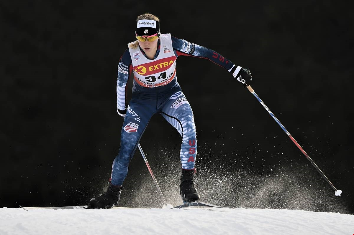 American Jessie Diggins now owns two individual World Cup victories Photo: Nordic Focus   Salomon.