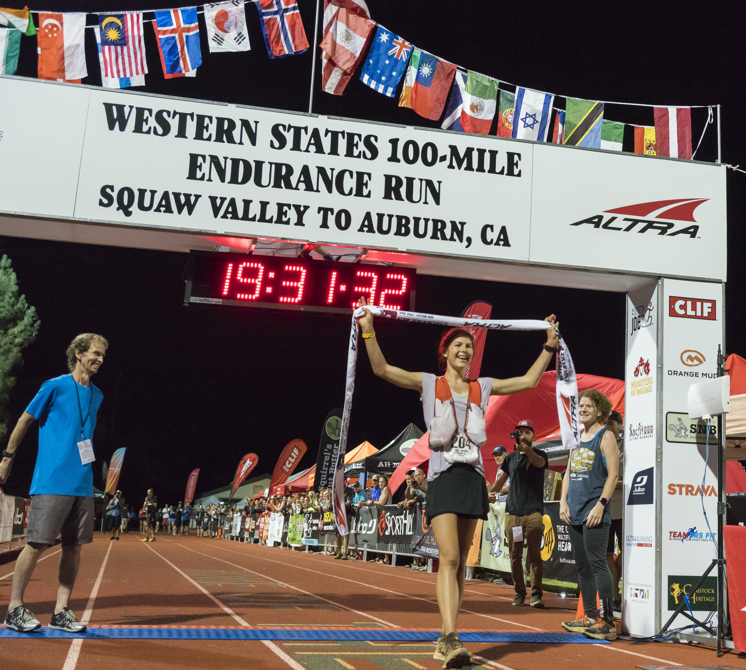 Cat Bradley crossing the finish line at Western States.  Photo by Paul Nelson.