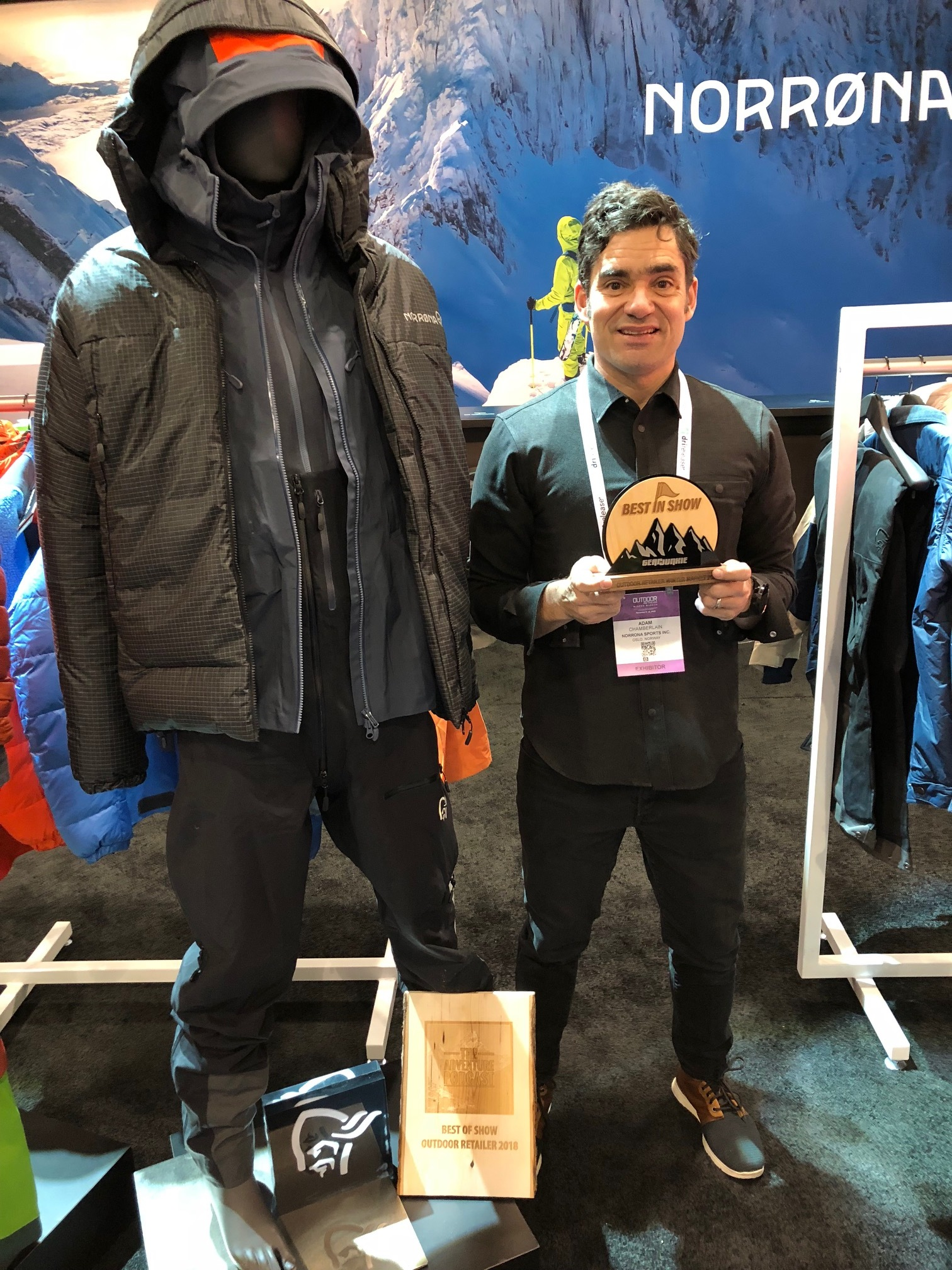 Adam Chamberlain, U.S. sales manager for Norrona, accepts the GearJunkie Best In Show award on Day 2 at Outdoor Retailer Winter Market 2018