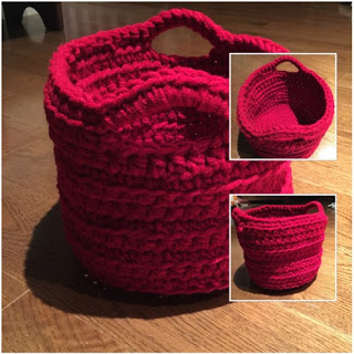 Crocheted Basket - Great heavy yarn project.