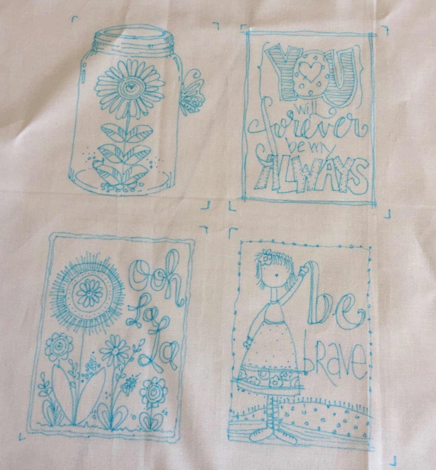 4 separate colouring sheets, combined to make one new embroidery pattern! Ignore the little L shapes, they are just markers. I had to leave part way through tracing and I was afraid if I left the images taped to the window they would get faded...