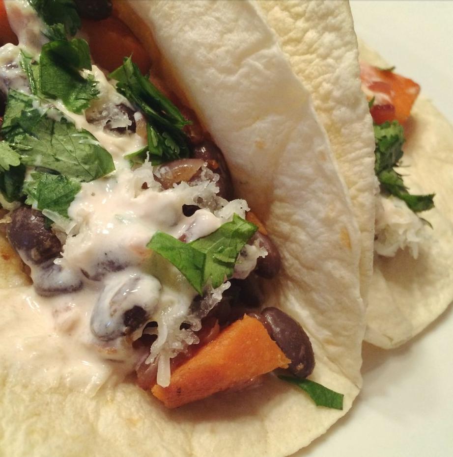 Sweet Potato and Black Bean Tacos Recipe | Kirsten Akens