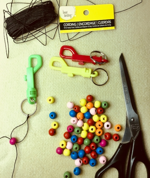 Beads, string, key ring for making calm down backpack buddy keychain by Michele Welch