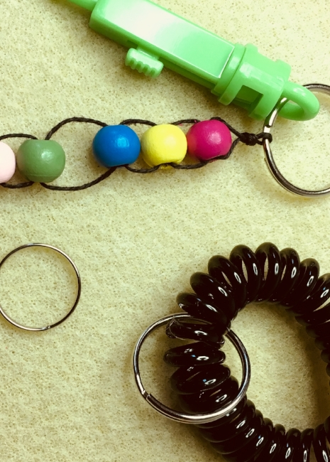 key ring options for beaded calm down keychain