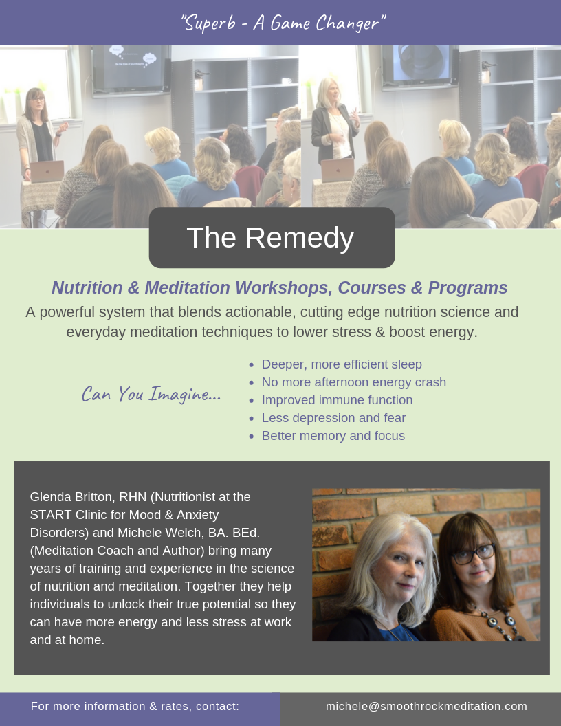 Poster for The Energy Remedy workshop with meditation teacher Michele Welch from Smooth Rock Meditation and wholistic nutritionist Glenda Britton.