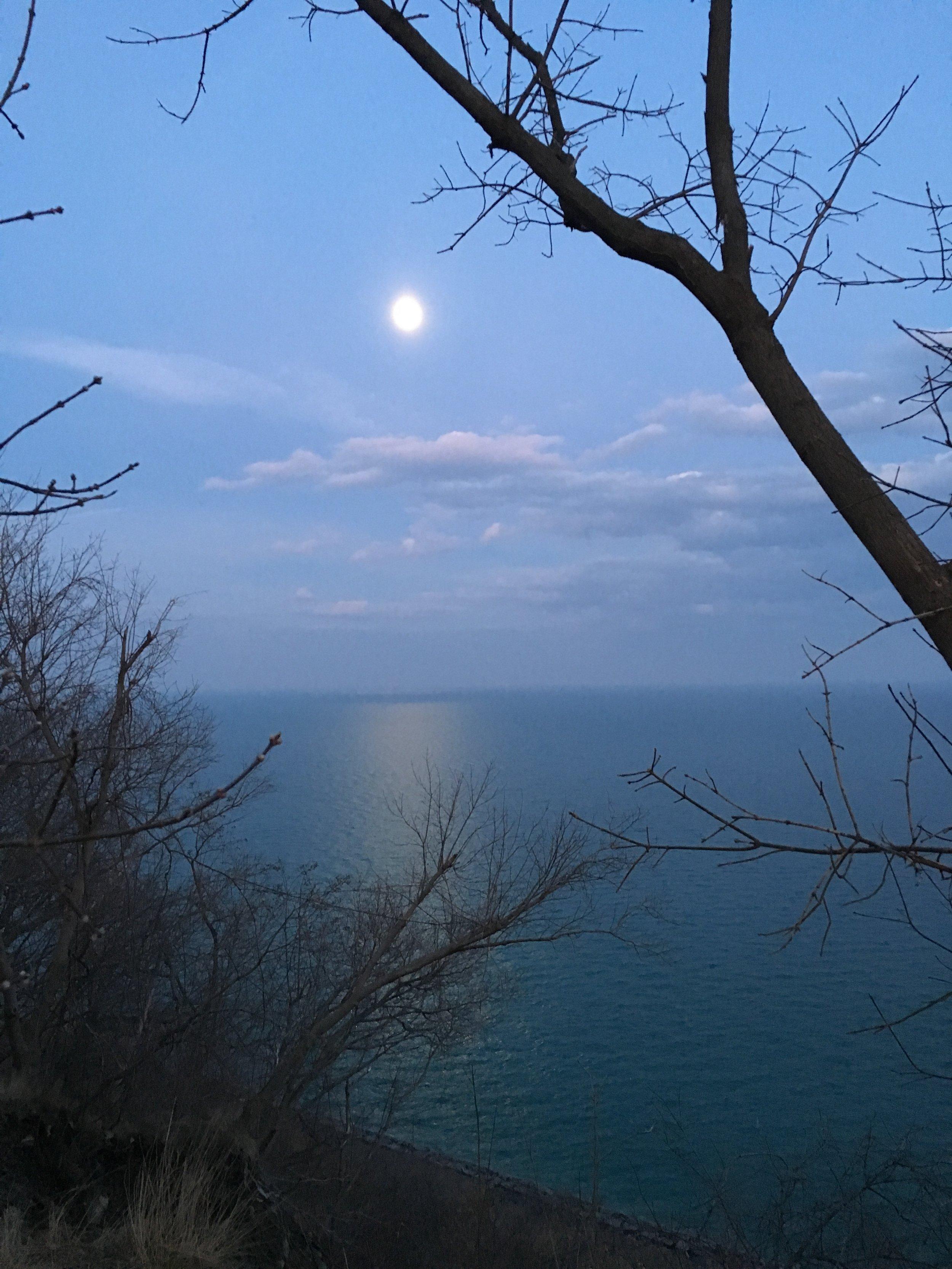 Moon, sky and Lake Ontario at dusk