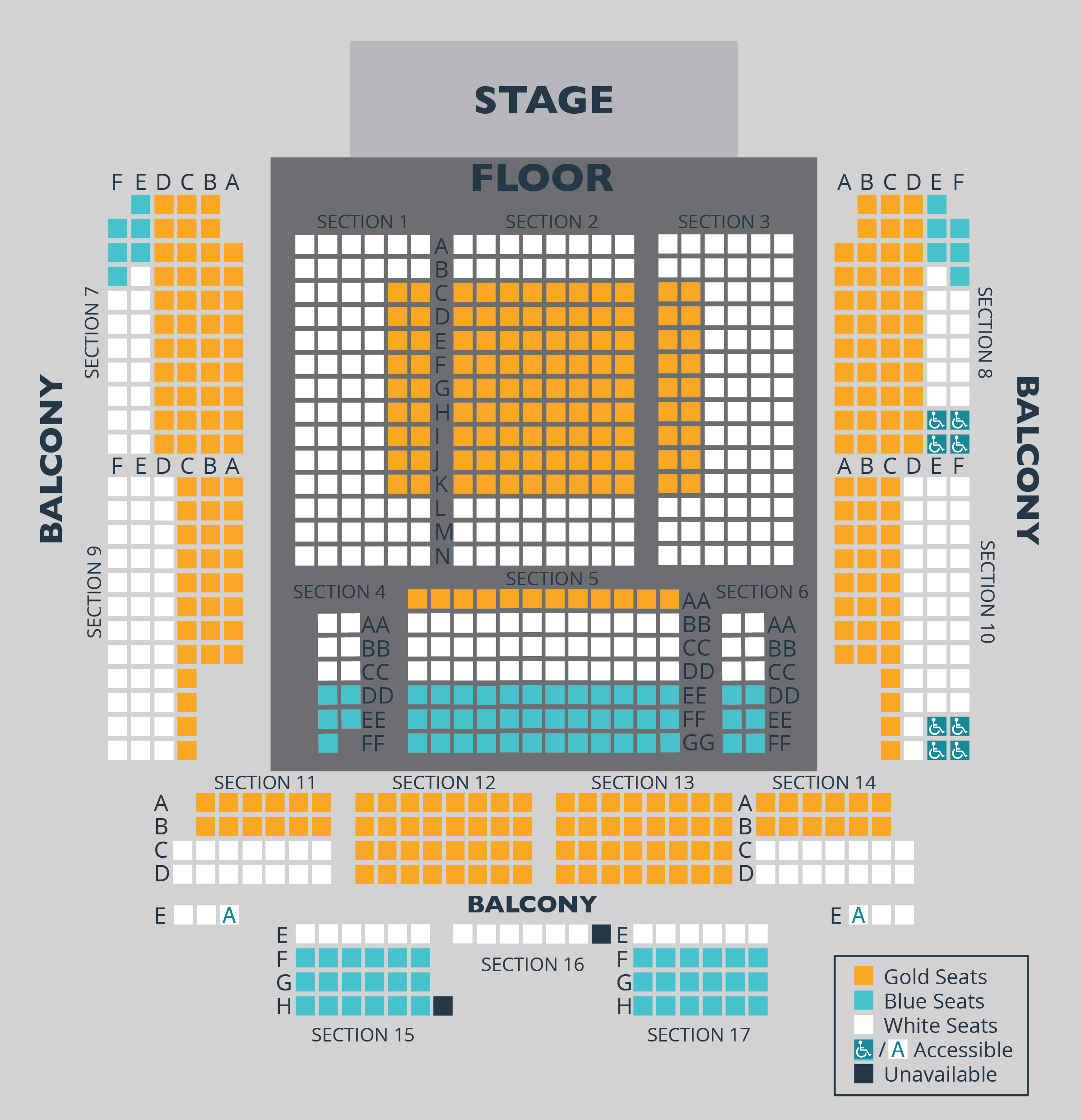 "Seat selection available on ticketing transaction pages. Click the ""BUY TICKETS"" button beneath each concert description in the page above."
