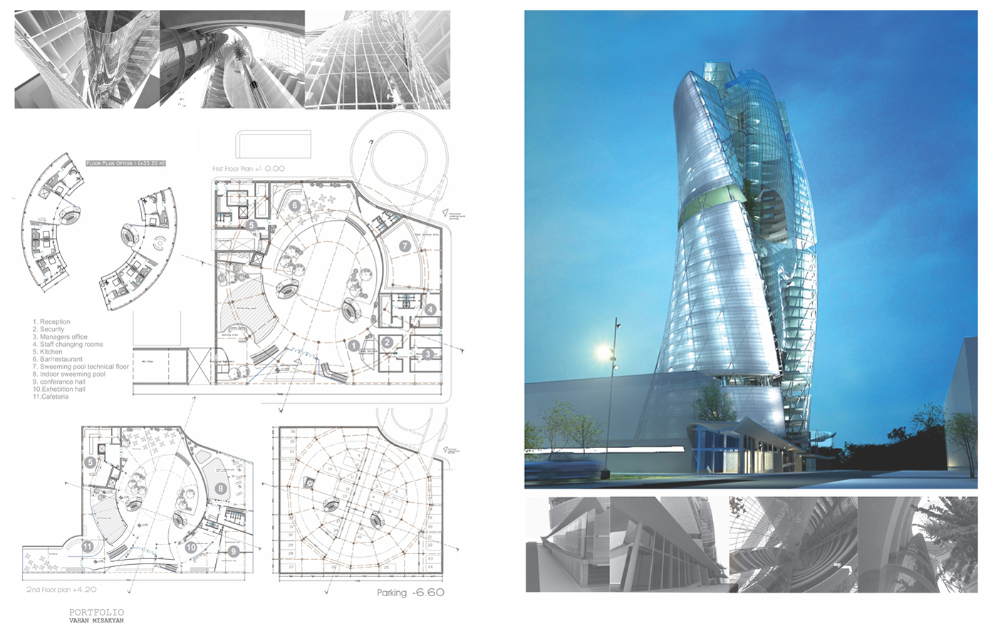 This proposal turns inside out the formalist language of signification, by introducing to the rigorous composition of verticality the most mundane architectural program in Yerevan. The 'title less' presentation (Hotel in Yerevan) becomes another part of the concept. Project gained much attention in 2008 through International Design Awards in LA U.S.A.
