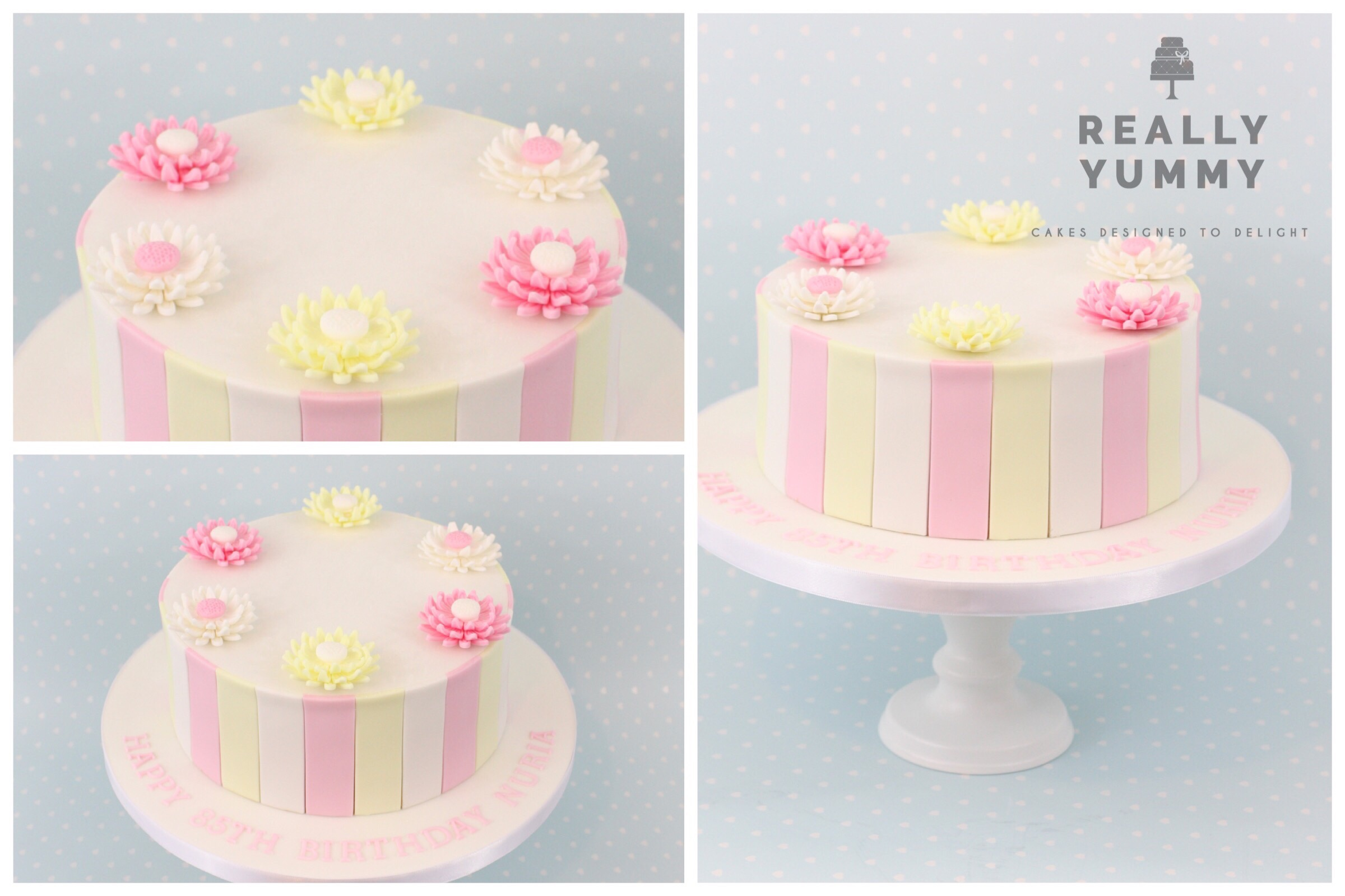 Stripes and flowers in pink and yellow cake