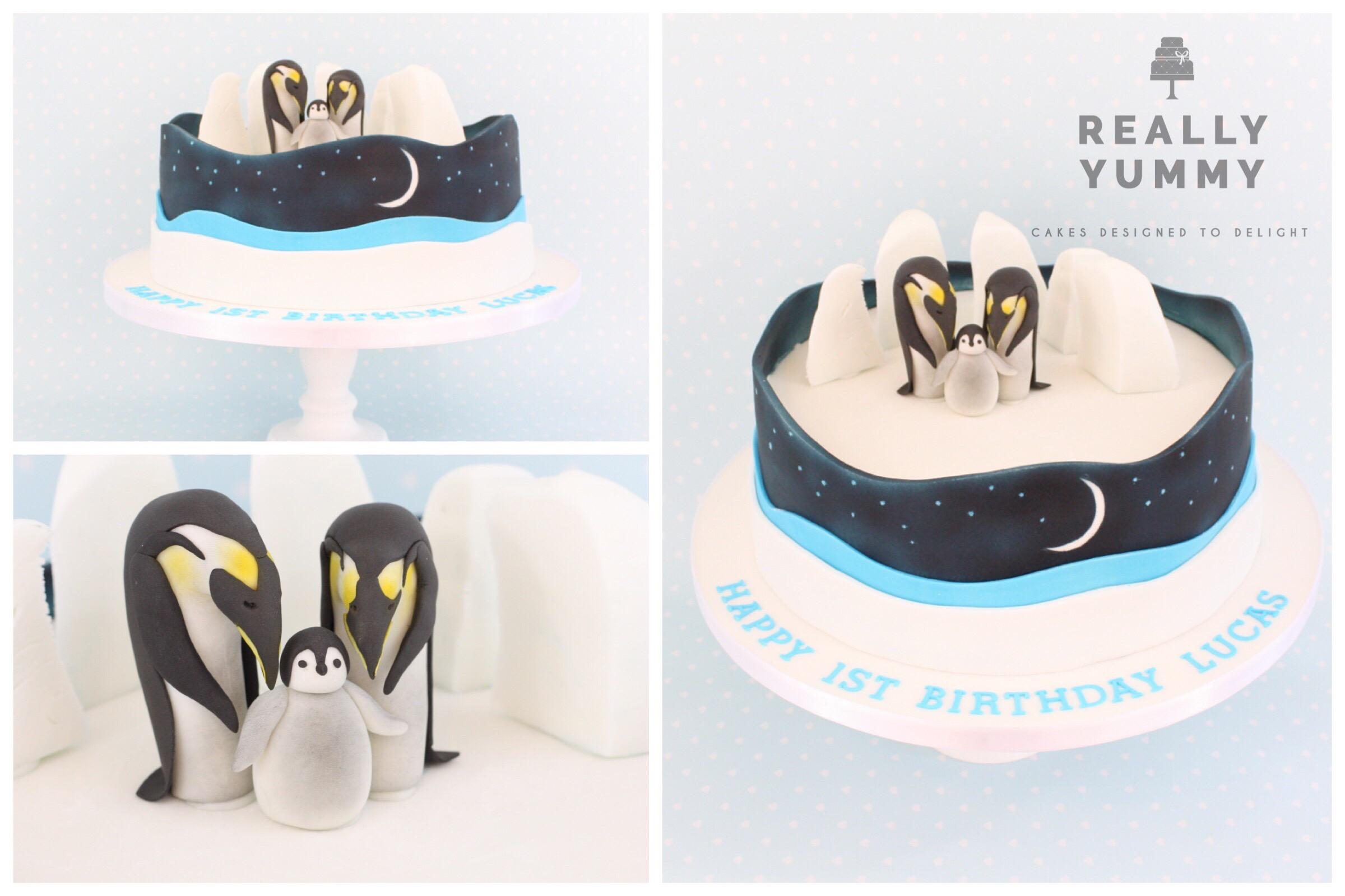 Penguin family cake