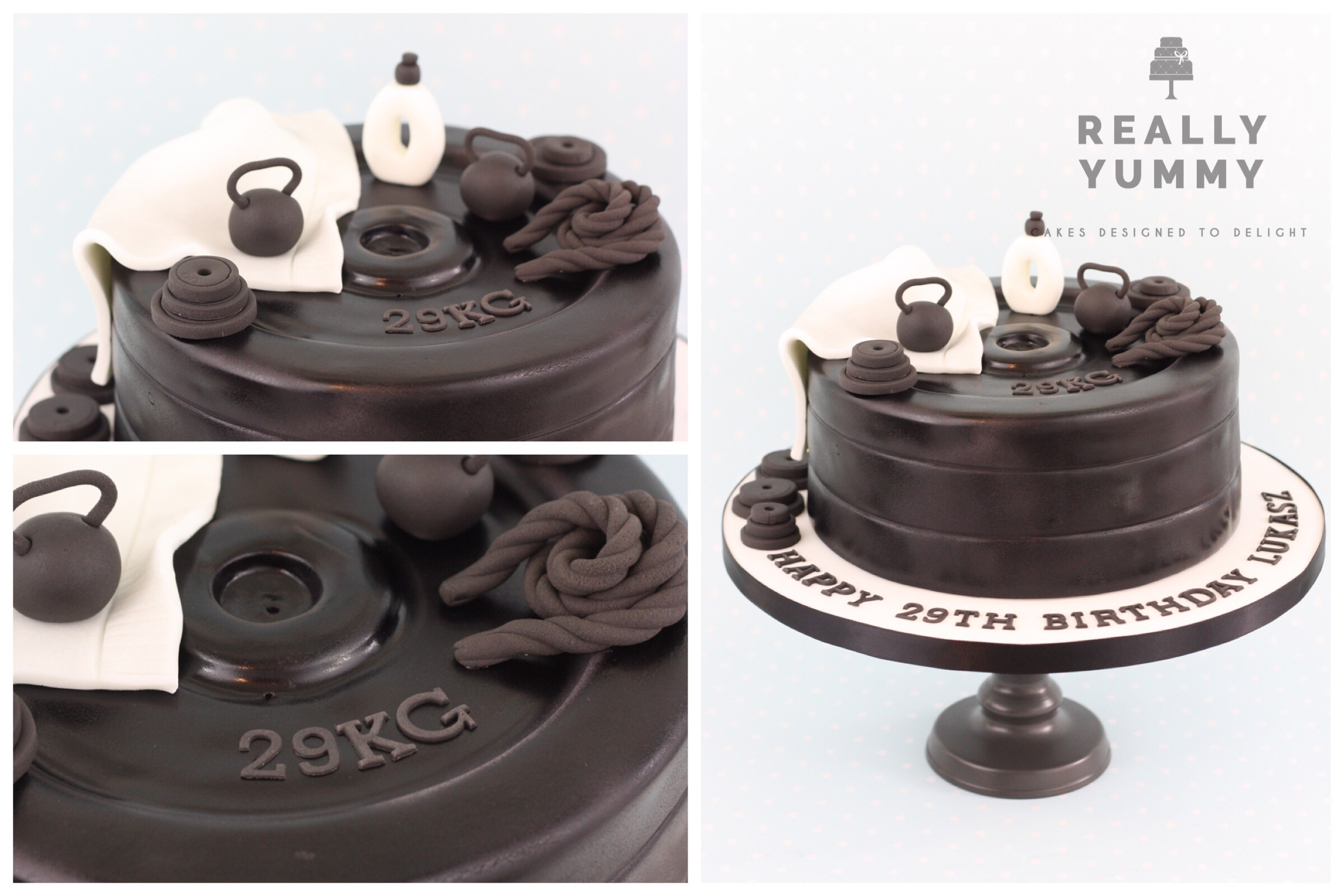 Fitness cake, with weights and gym equipment