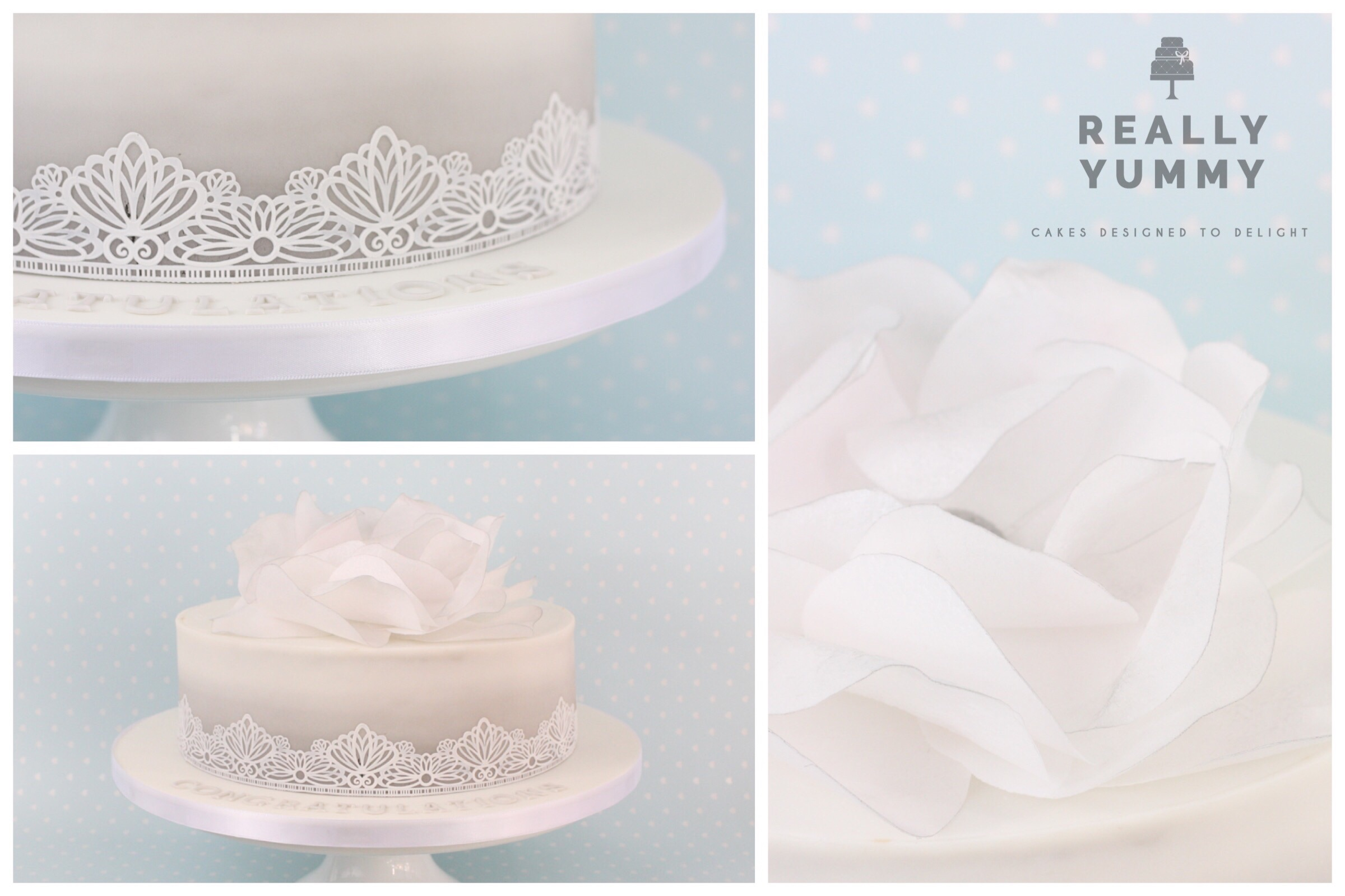 Single tier wedding cake, with flower and lace