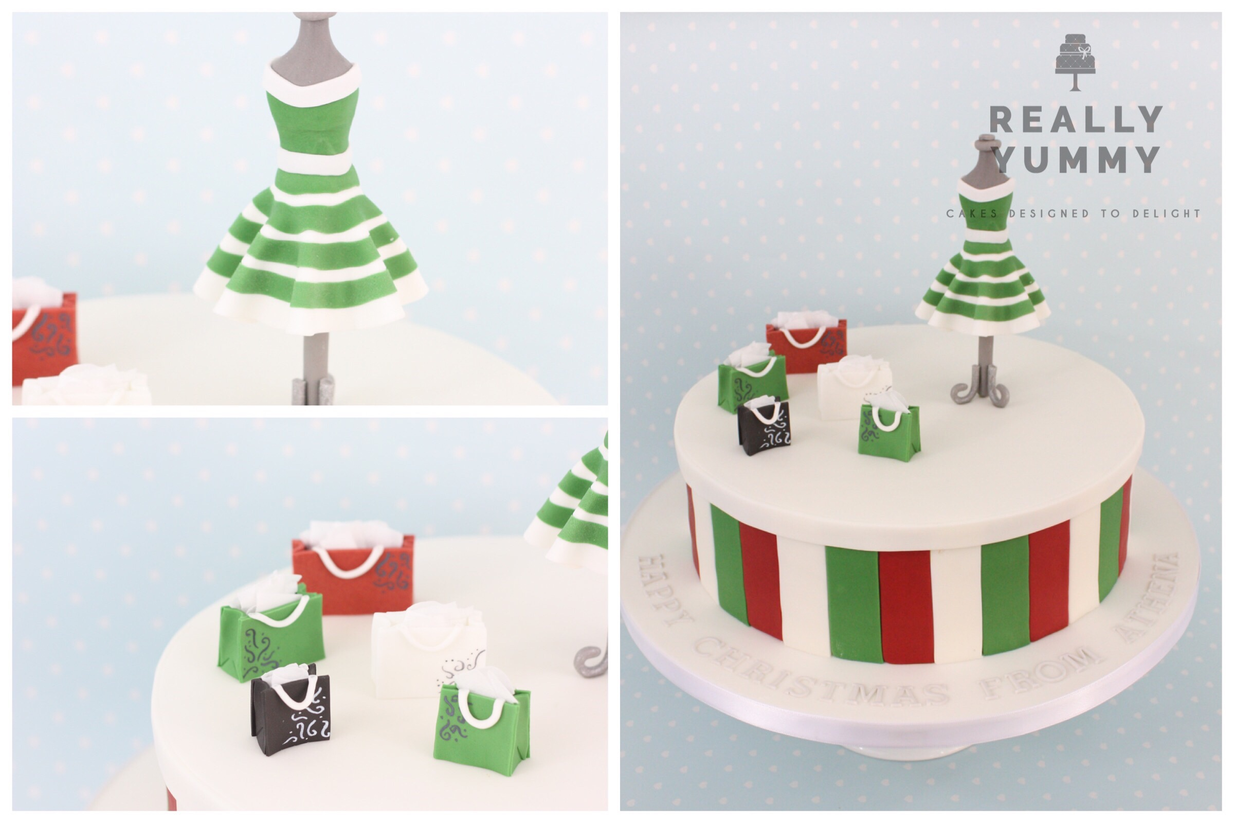 Christmas shopping cake, with green striped dress and shopping bags