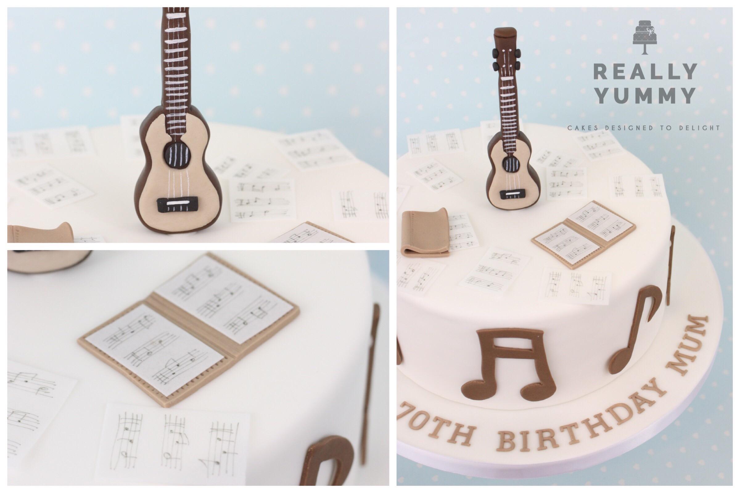 Ukulele and music cake